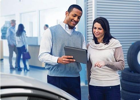 salesperson helping a customer
