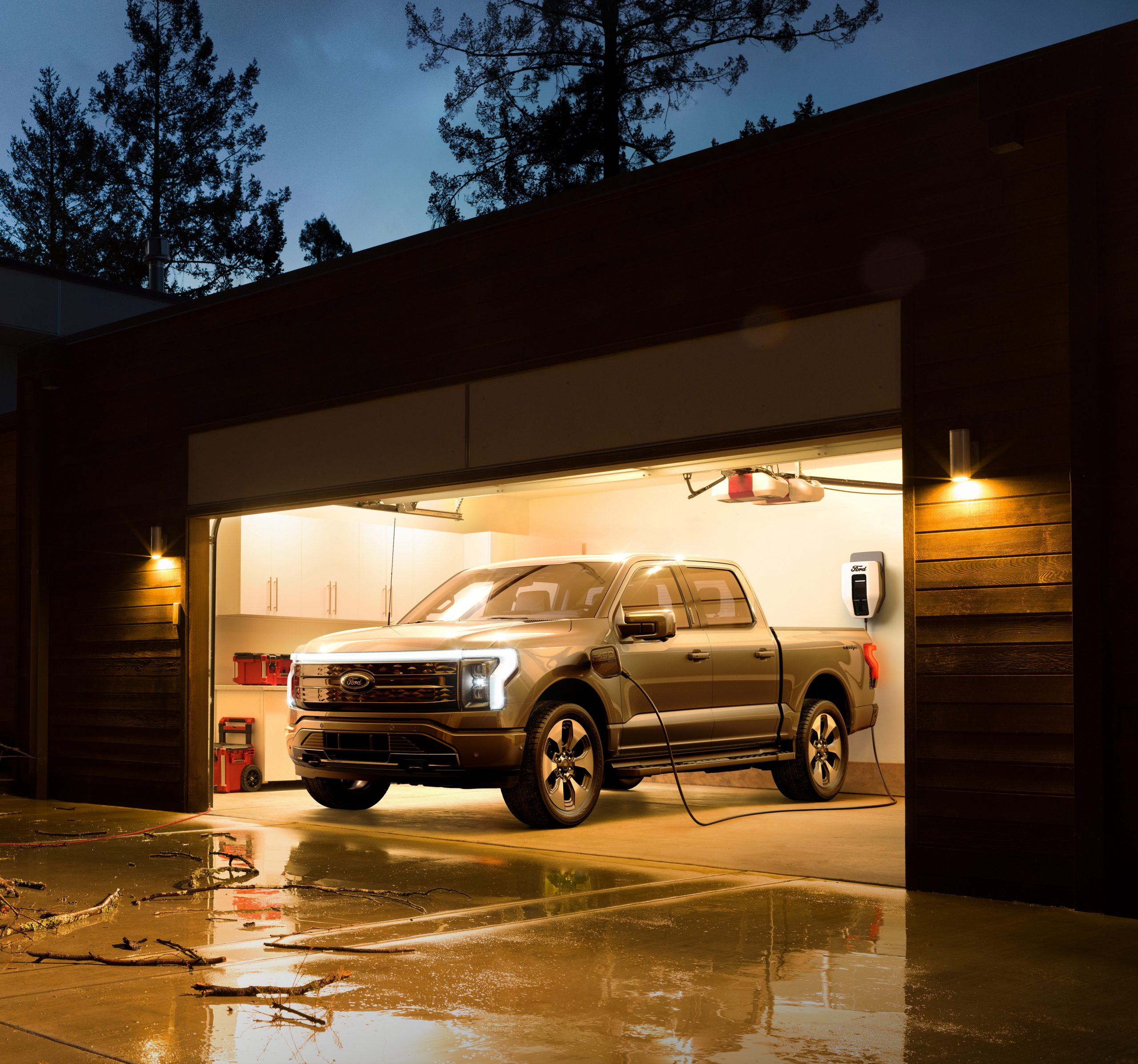 Electric Pick up truck F-150 plugged in