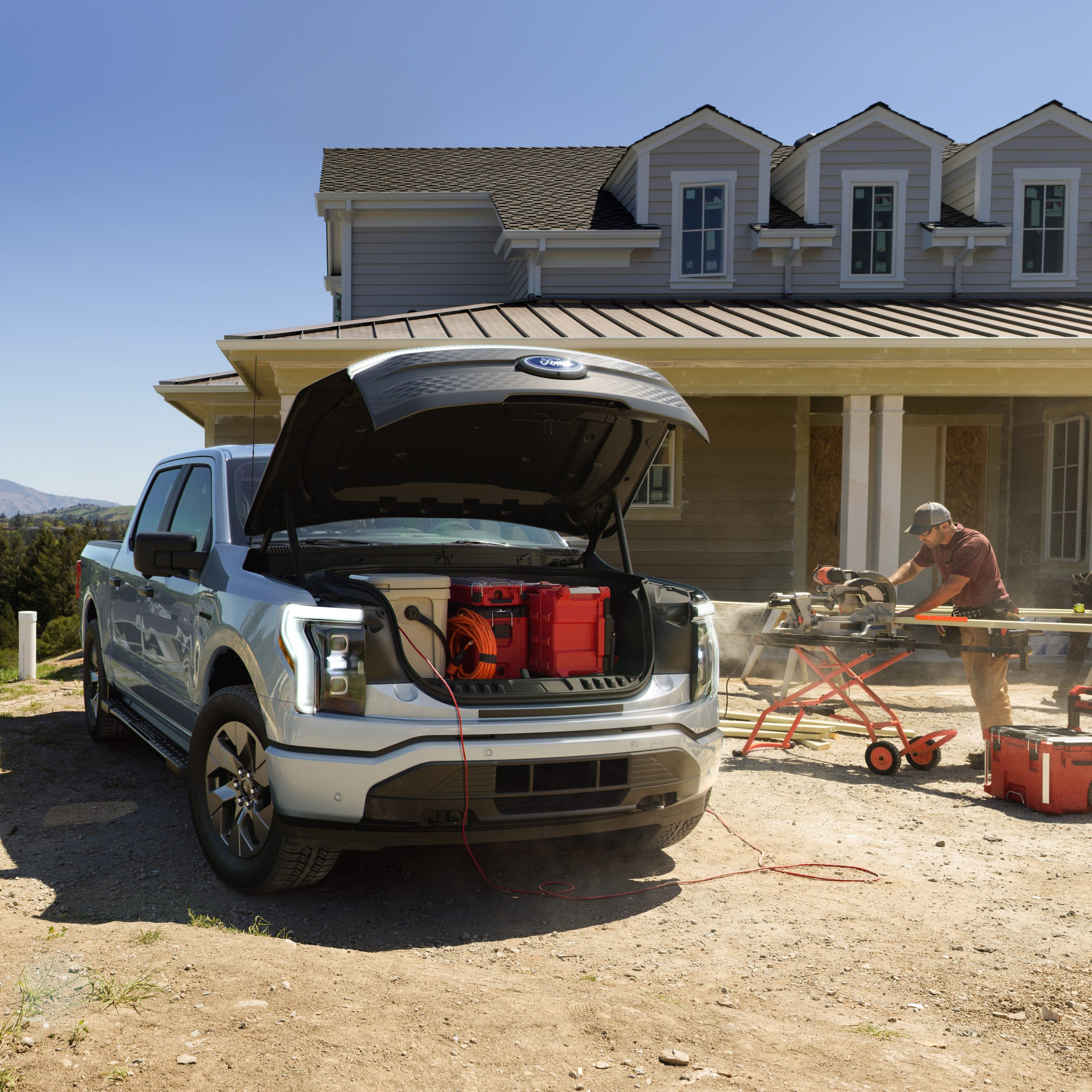 Electric Pick up truck F-150 under the hood